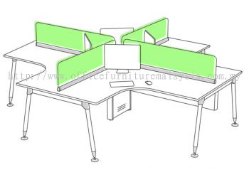 4 pax L shape workstation with desking panel