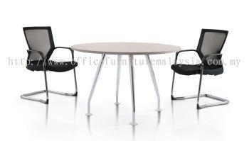 Round discussion table with elegant Ixia chrome leg