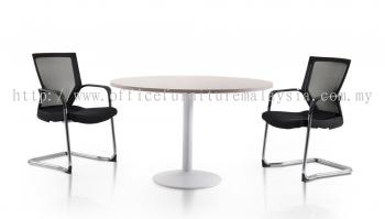 Round discussion table with white drum leg