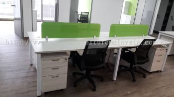 4 cubicle workstation with acrylic panel