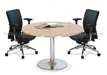 Round discussion table with chrome leg