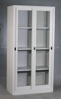 Full height steel cabinet sliding glass door
