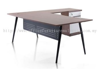 L shape table with Nitra black leg and fixed pedestal