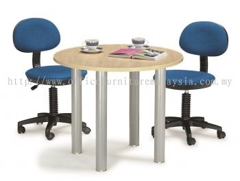 Discussion table with round pole leg