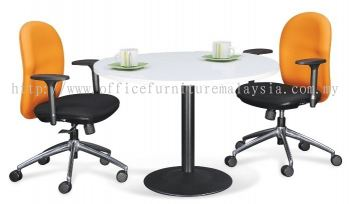 Round discussion table with drum black leg
