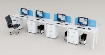 4 person office system with U shape metal leg and acrylic desking panel
