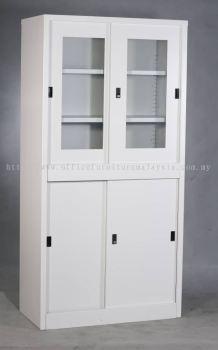 Full height steel cupboard with top glass sliding and bottom steel sliding door