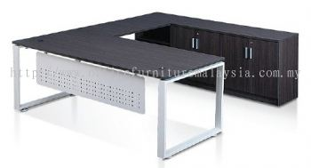 L shape cassia leg table with modesty panel and credenza return