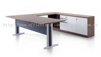 L shape table with Laven leg and credenza cabinet 1