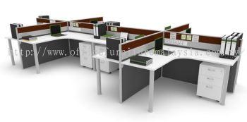 8 cluster L shape workstation with 'I' metal leg