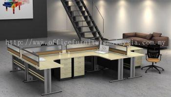6 gang workstation with desking panel