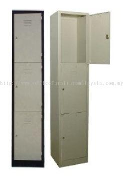 3 compartment steel locker