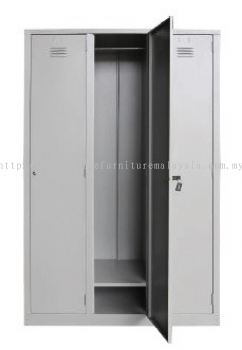 3 compartment steel locker with 1 hanging bar and 1 fixed shelve each