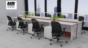White table with half glass partition