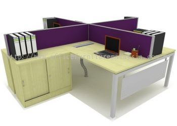Office cubicle with fabric desking panel L shape