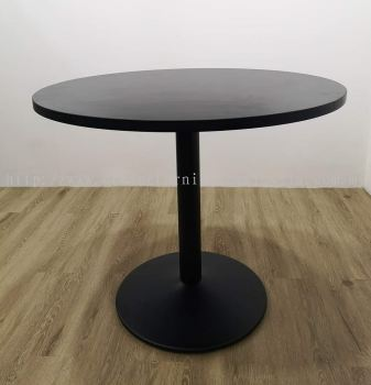 Round discussion table with drum leg