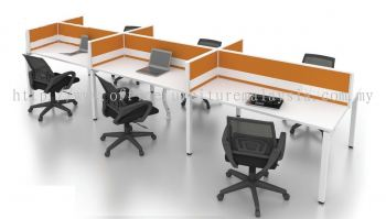 6 cluster desking workstation with wire trunking and rumex leg