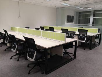 Multiple office workstation with desking panel