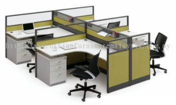 4 cluster L shape workstation with 2 + 1 stand pedestal