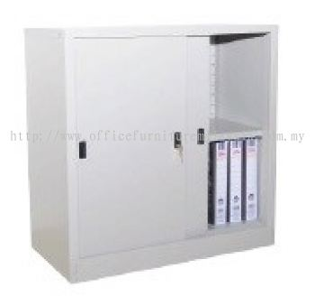 Half height sliding steel cabinet with 2 tiers