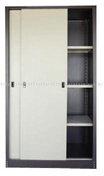 Full height sliding door steel cabinet with lock