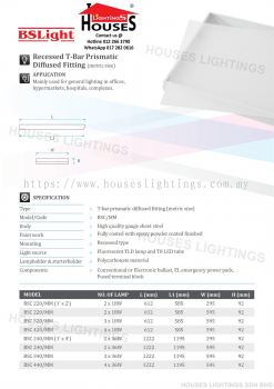BSLight Recessed T-Bar Prismatic Diffused Fitting (metric size)