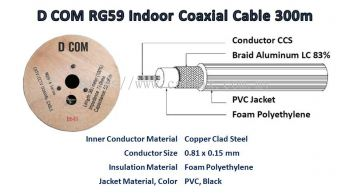 D COM RG59 Indoor Coaxial Cable 300m