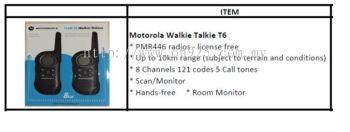 Motorola Walkie Talkie T6