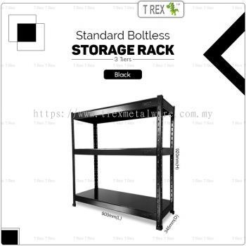 T Rex Standard 3 Tier Steel Boltless Storage Rack Kitchen Rack (Black)