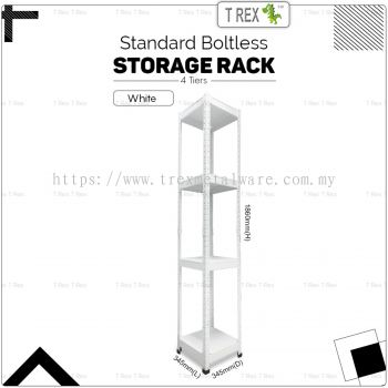 T Rex Standard 4 Tier Steel Boltless Storage Rack Display Rack Stand (White)