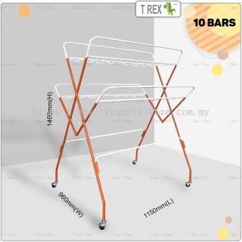 2M Out Door 8 + 2 Bars Clothes Hanger Drying Rack (Orange)