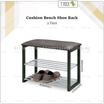 2M Sturdy Cushion Bench with 2 Tier Shoe Storage Shoe Rack (Black)