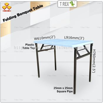 3V 2' x 3' Folding Banquet Table with Plastic Table Top (Black)