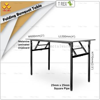 3V 2' x 4' Folding Banquet Table with Melamine Laminated Chipboard Table Top (Black)