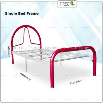 2B Berly Economic Folding Single Bed Frame (Red Silver Mixed)