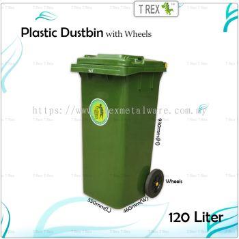 120L Plastic Dustbin / Garbage Bins with Wheels / Tong Sampah Beroda (Green)