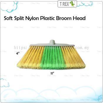 [BRO8802] Soft Split Nylon Plastic Broom with Wooden Handle(Stick)