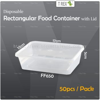 50pcs Microwave Safe Disposable Plastic Rectangular Food Container with Lid - FF650