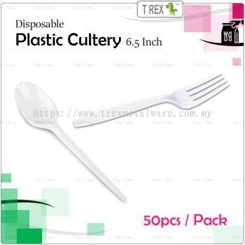 [ECON] 50pcs Disposable Plastic Spoon / Plastic Fork - 6.5 Inches - White