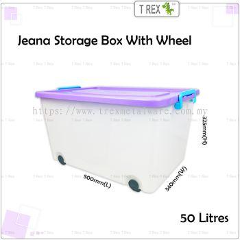 Jeana Storage Box With Wheel (50 Litres) - Random Color