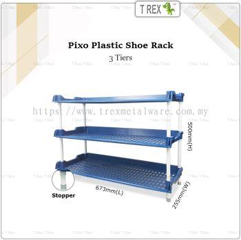 PIXO 3 Tier Plastic Shoe Rack (Blue)