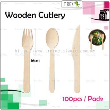 (100PCS) Disposable Biodegradable Wooden Cutlery 16cm / Sudu & Garpu - Fork/ Spoon/ Knife
