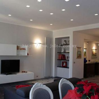 Living Room with LED Downlight (Round)