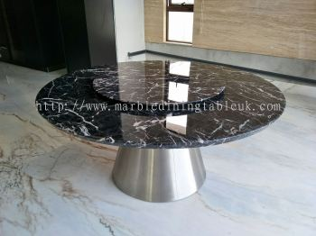 Round Table - Natural Marble Dining Set