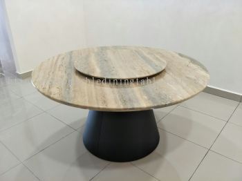 Round Marble Dining Table - Roma Travertine Marble