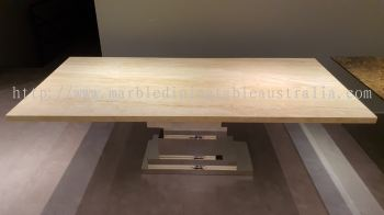 Luxury Beige Marble Dining Table - Nuvalato
