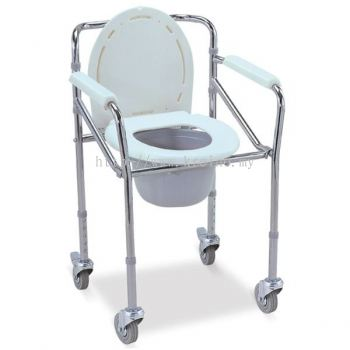 Steel Commode Chair with wheel