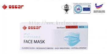 OSCAR 3PLY DISPOSABLE FACE MASK FM03 (EAR LOOP) BLUE COLOUR - Type II R (RM35)