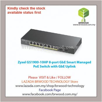 Zyxel GS1900-10HP: 8-port GbE Smart Managed PoE Switch with GbE Uplink