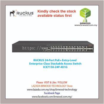Ruckus ICX7150-24P-4X1G: 24-PORT POE+ 2x 1G RJ45 uplink-ports, 4x 1G SFP uplink ports Access Switch